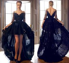 dh prom dresses hi lo 2016 black prom dresses lace formal cocktail dresses