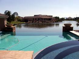 phoenix arizona waterfront homes backyard pool and lake in pinelakes