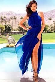 miranda kerr royal blue chiffon prom gown formal evening dresses