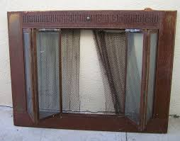 fireplace screen with glass doors 59 95 vintage rustic brass fireplace screen with metal chain mail