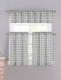 Gingham Kitchen by Gray U0026 White Cotton Blend Gingham Tartan Country Plaid Kitchen