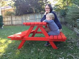Kids Wooden Picnic Table Kid U0027s Timber Picnic Table