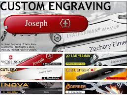 custom engraving at swiss knife shop