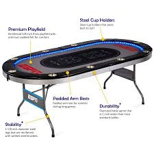 folding poker tables for sale espn 10 player premium poker table with in laid led lights no