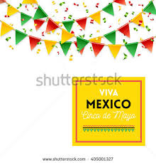 isolated strings colorful flags banner cinco stock vector