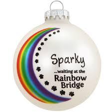 personalized rainbow bridge pet remembrance glass ornament