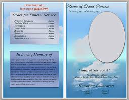 Template For Funeral Program Blue Cloud Funeral Program Template In Microsoft Word 2007 2010