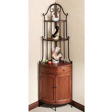 Metal And Wood Bakers Rack Furniture Metal And Wood Corner Wine Cabinet With Shelves Drawers