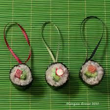 maki glitter sushi sler ornament decoration set of 3