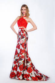floral printed red mermaid two piece lace and satin halter prom