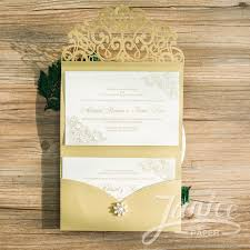 paper invitations lovely sash tri fold laser cut wholesale pocket wedding
