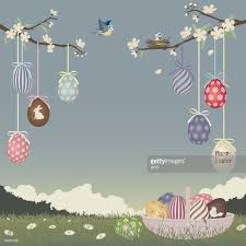 easter ornament tree easter egg ornaments hanging blossoming trees vector