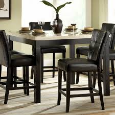 Beige Leather Dining Chairs Furniture Rectangle Black Glass Dining Table And Six Black