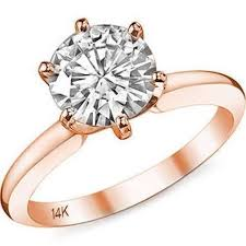 gold 1 carat engagement rings 14k gold 1 carat 6 prong cubic zirconia engagement ring by