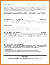 event planner resume bio resume samples