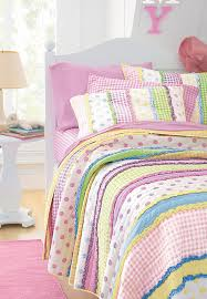 Girls Queen Comforter Little Girls Dottie Quilt Striped Polka Dot U0026 Gingham Rainbow