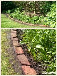 plastic garden edging ideas brick making use of old bricks in the garden after scrubbing them one