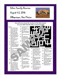 family reunion printable trivia crossword hidden message