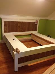 Build A Platform Bed Frame Plans by Diy Platform Bed With Storage Plans Inspirations Also How To Make