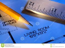 new house layout floor plan with pencil and ruler royalty free