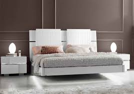 modern high gloss white lacquer platform bed with leather