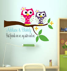 Owl Decal Sisters Wall Decal With Owl Name Wall Decal - Kids rooms decals