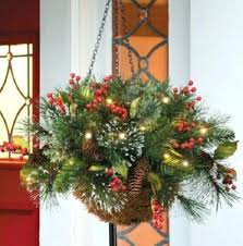 christmas hanging baskets with lights outdoor hanging christmas decorations pretty rustic hanging baskets