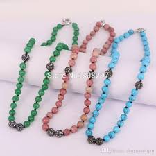 handmade beaded necklace images Wholesale 5strands natura stone round bead necklace handmade jpg
