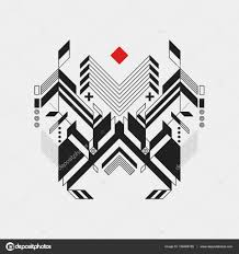 abstract geometric design element on white background futuristic