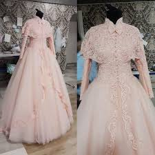 wedding dress brokat real photos vintage high neck sleeve with cape lace appliques