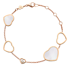 rose gold bracelet with pearls images Rose gold mother of pearl happy hearts diamond bracelet jpg