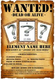 periodic table most wanted key periodic wanted poster web quest the task