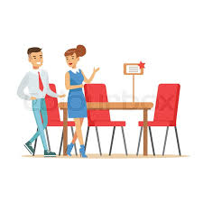 couple buying big dining table and chairs for dining room smiling
