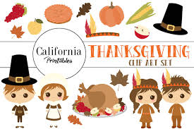 thanksgiving clip set illustrations creative market