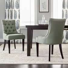 safavieh en vogue dining abby grey linen nailhead dining chairs