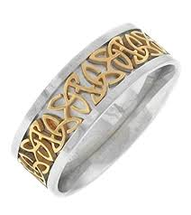 knots wedding registry triquetra celtic knot ring two tone stainless steel