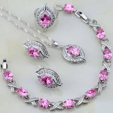silver pink necklace images 925 sterling silver pink cubic zirconia white zircon jewelry sets jpg