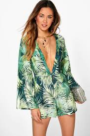 boohoo clothes fergie flare sleeve palm print playsuit palm print playsuits