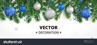 horizontal banner tree garland ornaments stock vector