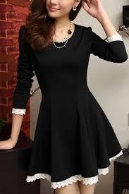 elegant lace up trim long sleeve a line dress oasap com