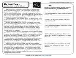 the inner planets reading worksheets spelling grammar