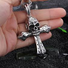 cross skull necklace images Gothic stainless steel cross skull pendant necklace skull obsessed jpg