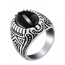 black male rings images Black opal men signet ring antique silver oval stone vintage rings jpg