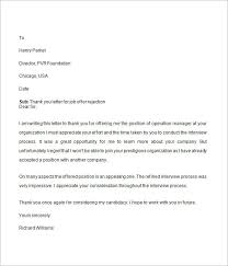 ideas collection sample job offer rejection letter to employer in