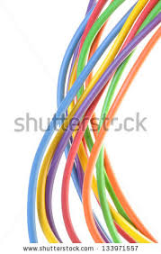 electric colored wires knot used electrical stock photo 133971761