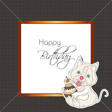 stylish happy birthday greeting card with little cat holding