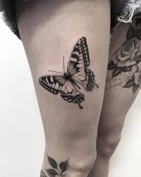 black ink butterfly on thigh best design ideas