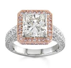 platinum pave rings images Ladies platinum pave halo engagement ring with 14kt rose gold jpg