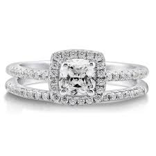 ring sets sterling silver cushion cubic zirconia cz halo engagement