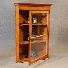 Oak Glazed Display Cabinet Corner Cupboard Glazed Wall Display Cabinet Golden Oak Antique